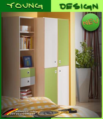 neu kinderzimmer kleiderschrank in ahorn weiss gr n jugendzimmer schrank ebay. Black Bedroom Furniture Sets. Home Design Ideas