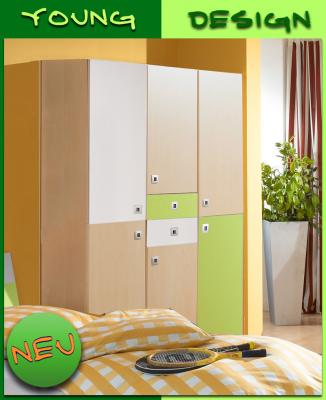 neu 3 trg kinderzimmer kleiderschrank in ahorn gr n weiss jugendzimmer schrank ebay. Black Bedroom Furniture Sets. Home Design Ideas