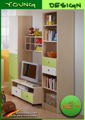 neu jugendzimmer wohnwand ahorn weiss gr n kinderzimmer anbauwand schrankwand ebay. Black Bedroom Furniture Sets. Home Design Ideas