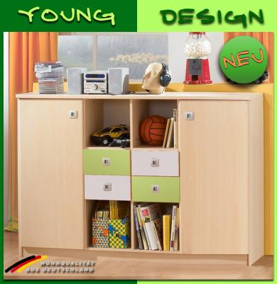neu jugendzimmer sideboard in ahorn gr n wei kommode regal kinderzimmer ebay. Black Bedroom Furniture Sets. Home Design Ideas