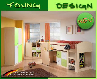 neu jugendzimmer kinderzimmer ahorn wei gr n hochbett kleiderschrank sideboard ebay. Black Bedroom Furniture Sets. Home Design Ideas