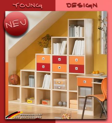 neu jugendzimmer ahorn orange rot kinderzimmer. Black Bedroom Furniture Sets. Home Design Ideas