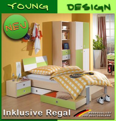 neu komplett jugendzimmer kinderzimmer ahorn gr n wei regal bett kleiderschrank ebay. Black Bedroom Furniture Sets. Home Design Ideas