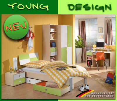 neu komplett jugendzimmer kinderzimmer ahorn gr n wei regal schrank nachttisch ebay. Black Bedroom Furniture Sets. Home Design Ideas