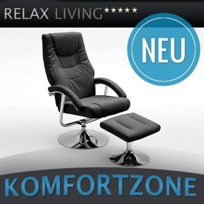 neu relaxsessel kunstleder schwarz chrom inkl hocker. Black Bedroom Furniture Sets. Home Design Ideas