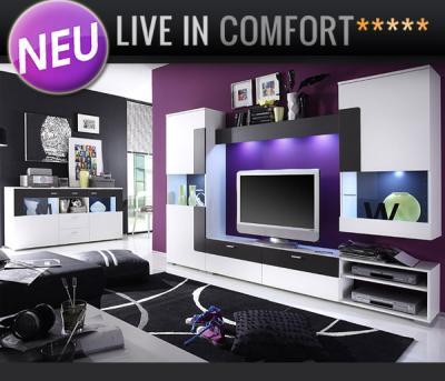 neu led wohnwand sideboard wei anthrazit anbauwand vitrinen schrankwand ebay. Black Bedroom Furniture Sets. Home Design Ideas