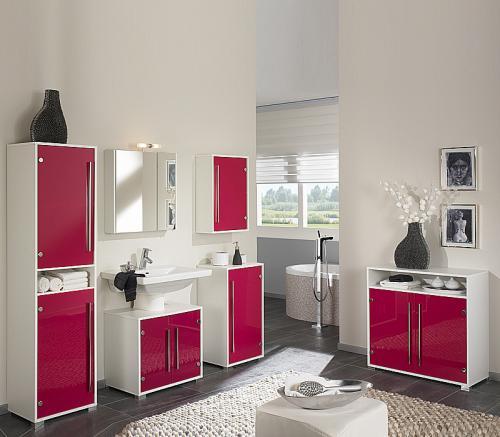 Badmöbel Set weiß pinke Glasfronten 6tlg - Badezimmer Gäste WC ...