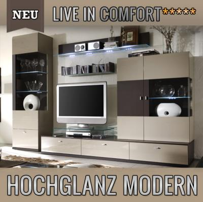 neu 4tlg moderne wohnwand montiert hochglanz sandgrau led. Black Bedroom Furniture Sets. Home Design Ideas