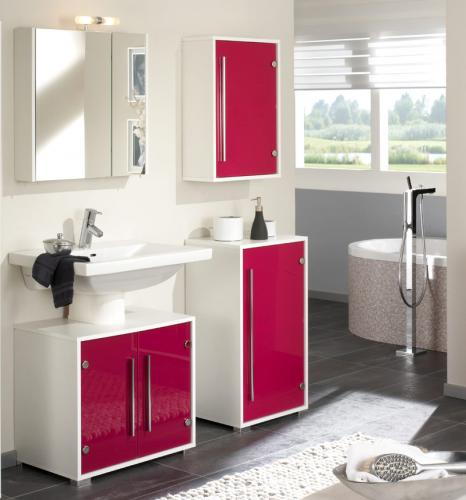 badm bel set wei mit pinken glasfronten 4tlg badezimmer g ste wc spiegel bad ebay. Black Bedroom Furniture Sets. Home Design Ideas
