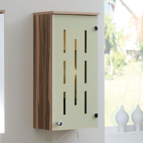 badezimmer haengeschrank in walnuss vanille gaeste wc badmoebel schrank ablage. Black Bedroom Furniture Sets. Home Design Ideas
