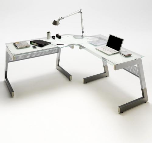 neu eck schreibtisch silber wei arbeitstisch glastisch computertisch b rom bel ebay. Black Bedroom Furniture Sets. Home Design Ideas
