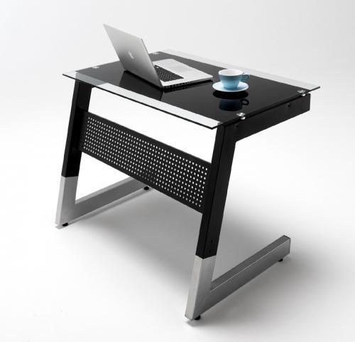 neu glas schreibtisch arbeitstisch b rotisch computertisch b rom bel schwarz ebay. Black Bedroom Furniture Sets. Home Design Ideas