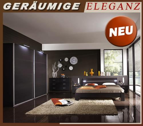 neu komplett schlafzimmer anthrazit kleiderschrank futonbett kommode nachttisch ebay. Black Bedroom Furniture Sets. Home Design Ideas
