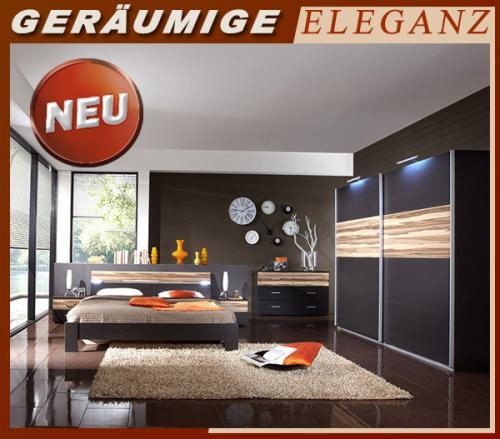 neu 6tlg schlafzimmer lava walnuss kleiderschrank 160cm futonbett nachtische ebay. Black Bedroom Furniture Sets. Home Design Ideas