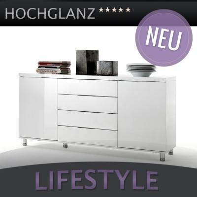 neu modernes hochglanz sideboard lack weiss kommode chrom anrichte highboard ebay. Black Bedroom Furniture Sets. Home Design Ideas