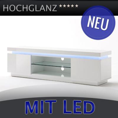 neu lowboard hochglanz weiss mit wechsel led tv kommode rack fernsehtisch ebay. Black Bedroom Furniture Sets. Home Design Ideas