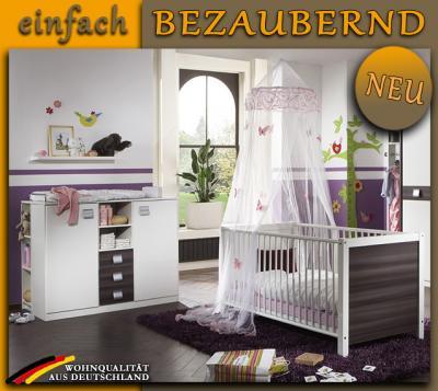 neu babyzimmer weiss nussbaum graphit babybett. Black Bedroom Furniture Sets. Home Design Ideas