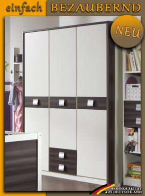 neu 3 trg jugendzimmer kleiderschrank wei nussbaum graphit kinderzimmerschrank ebay. Black Bedroom Furniture Sets. Home Design Ideas