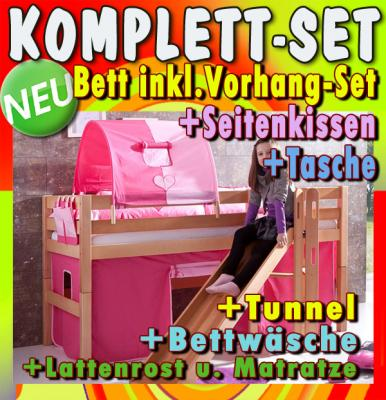 neu hochbett 9tlg set massiv zubeh r pink kinderbett. Black Bedroom Furniture Sets. Home Design Ideas