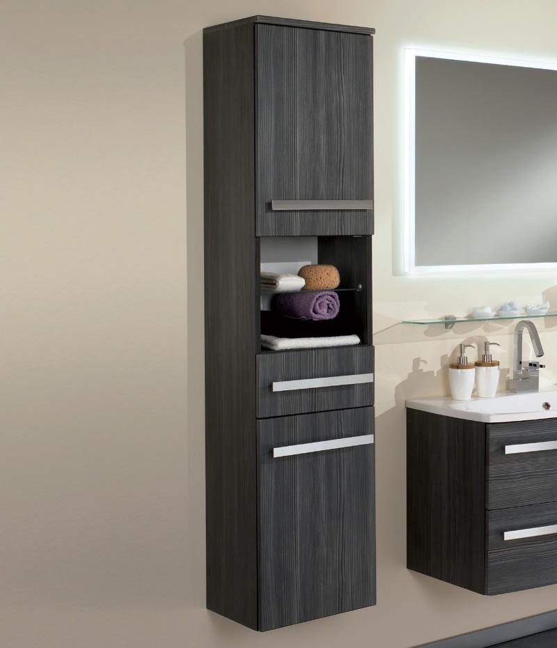 badezimmer hochschrank pinie anthrazit montiert h ngeschrank badezimmerschrank ebay. Black Bedroom Furniture Sets. Home Design Ideas