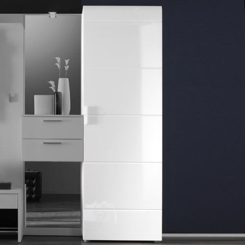 neu garderobenschrank in hochglanz wei kleiderschrank flurm bel dielenschrank ebay. Black Bedroom Furniture Sets. Home Design Ideas