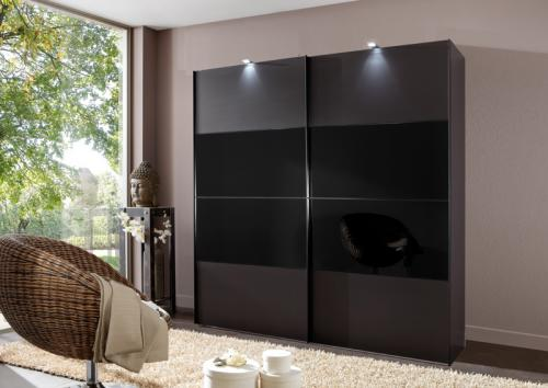 kleiderschrank lava glas schwarz mit led beleuchtung. Black Bedroom Furniture Sets. Home Design Ideas