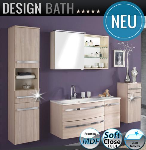 NEU*Excl. 4tlg Badmöbel Set pinie-honig Badezimmer LED ... | {Badmöbel hängend 50}