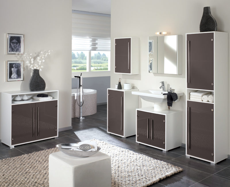 badezimmer unterschrank glas taupe wei badm bel bad kommode badezimmerschrank ebay. Black Bedroom Furniture Sets. Home Design Ideas