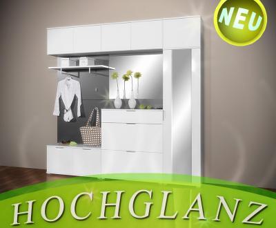 neu 8tlg hochglanz flur garderobe weiss schuhschrank. Black Bedroom Furniture Sets. Home Design Ideas