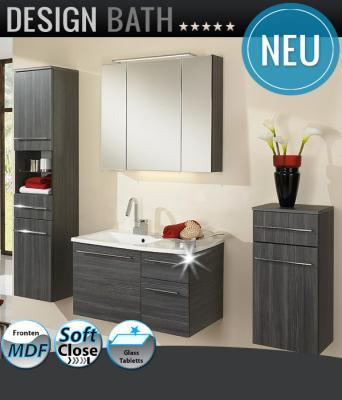neu 4tlg badm bel set pinie anthrazit led spiegelschrank waschplatz badezimmer ebay. Black Bedroom Furniture Sets. Home Design Ideas