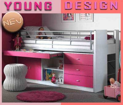neu hochbett wei fuchsia mit ausziehbarem schreibtisch kinderbett jugendbett ebay. Black Bedroom Furniture Sets. Home Design Ideas