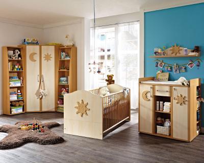 Babyzimmer set buche  TOP* 7-TLG BABYZIMMER SET IN BUCHE - BIRKE BABYBETT WICKELKOMMODE ...