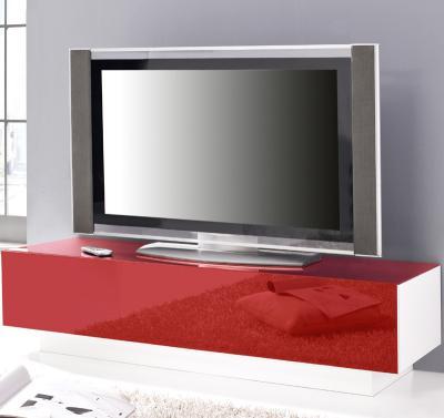 top lowboard weiss mit glasfront rot kommode tv board sideboard fernsehtisch ebay. Black Bedroom Furniture Sets. Home Design Ideas