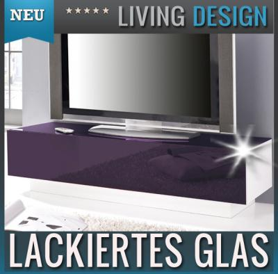 neu lowboard glasfront lack lila wei tv rack kommode sideboard fernsehtisch ebay. Black Bedroom Furniture Sets. Home Design Ideas