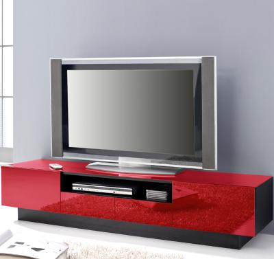 top design lowboard schwarz glas rot tv rack kommode sideboard fernsehtisch ebay. Black Bedroom Furniture Sets. Home Design Ideas