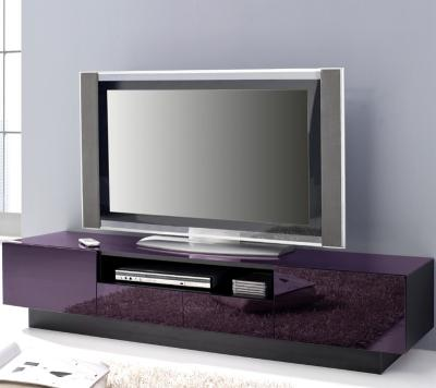 top design lowboard schwarz glas lila tv rack kommode sideboard fernsehtisch ebay. Black Bedroom Furniture Sets. Home Design Ideas
