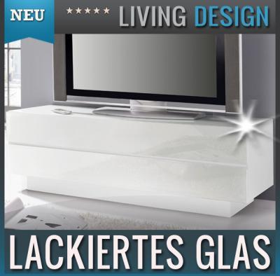 neu edles lowboard mit glasfront weiss tv rack kommode sideboard fernsehtisch ebay. Black Bedroom Furniture Sets. Home Design Ideas
