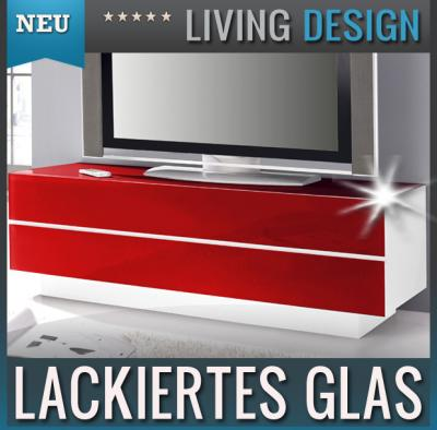 neu lowboard glasfront weiss rot tv rack kommode. Black Bedroom Furniture Sets. Home Design Ideas