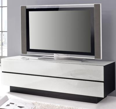 top design lowboard schwarz mit glas in weiss tv kommode sideboard fernsehtisch ebay. Black Bedroom Furniture Sets. Home Design Ideas