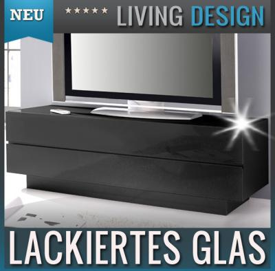neu edles lowboard glasfront schwarz hifi rack kommode sideboard fernsehtisch ebay. Black Bedroom Furniture Sets. Home Design Ideas