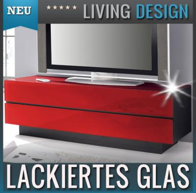 neu edles lowboard mit glasfront in rot tv rack kommode. Black Bedroom Furniture Sets. Home Design Ideas