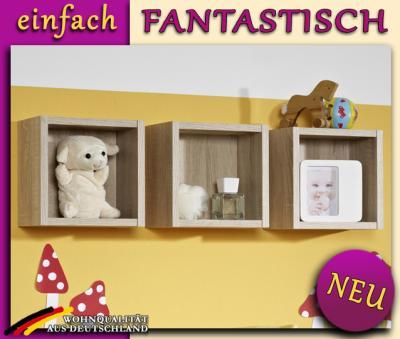 neu kinderzimmer 3er set h ngeregale eiche s gerau. Black Bedroom Furniture Sets. Home Design Ideas