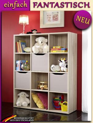 neu babyzimmer standregal eiche s gerau kinderzimmer regal b cherregal 120x145cm ebay. Black Bedroom Furniture Sets. Home Design Ideas