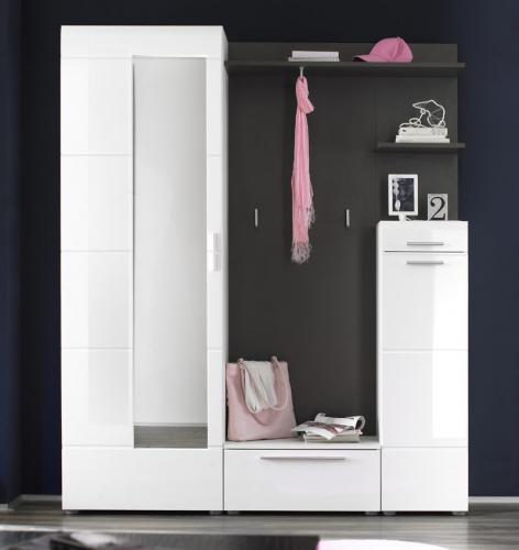 garderoben set hochglanz wei anthrazit schuhschrank. Black Bedroom Furniture Sets. Home Design Ideas