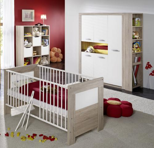 top babyzimmer 4tlg set sonoma eiche weiss wickelkommode kleiderschrank regal ebay. Black Bedroom Furniture Sets. Home Design Ideas