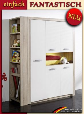 neu kleiderschrank anstellregal eiche s gerau weiss kinderzimmer schrank ebay. Black Bedroom Furniture Sets. Home Design Ideas