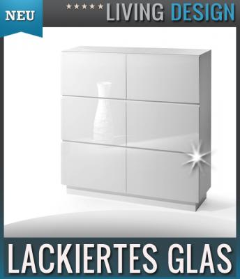 neu edles sideboard glasfront in weiss kommode highboard hochkommode anrichte ebay. Black Bedroom Furniture Sets. Home Design Ideas