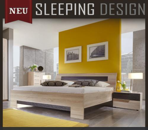neu 3tlg schlafzimmer eiche s gerau lava 180cm futonbett nachttisch doppelbett ebay. Black Bedroom Furniture Sets. Home Design Ideas