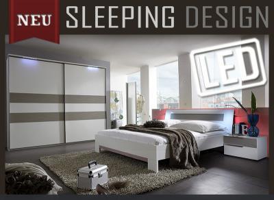neu komplett schlafzimmer weiss sandgrau inkl led kleiderschrank futonbett ebay. Black Bedroom Furniture Sets. Home Design Ideas