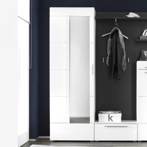 garderoben kleiderschrank hochglanz wei flurschrank dielenschrank garderobe ebay. Black Bedroom Furniture Sets. Home Design Ideas